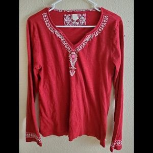 Lucky Brand Red Embroidered Boho Blouse Top